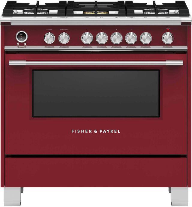 Cuisinière biénergie autoportante Fisher Paykel® de 4,9 pi³ de 36 po - Rouge-OR36SCG6R1