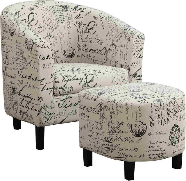 Coaster® Off White 2-Piece Upholstered Accent Chair And Ottoman-900210