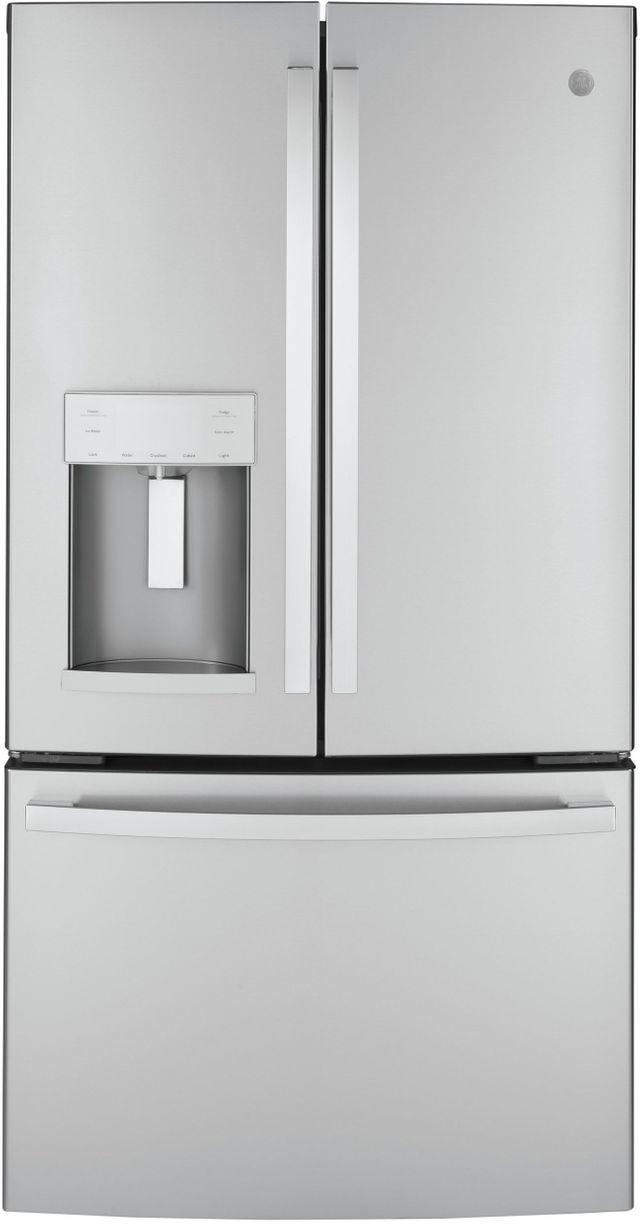 GE® 22.1 Cu. Ft. Fingerprint Resistant Stainless Steel Counter Depth French Door Refrigerator (S/D AS516177)-GYE22GYNFS SD