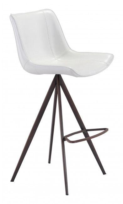 Zuo® Aki White and Walnut Set of 2 Bar Chairs-101288