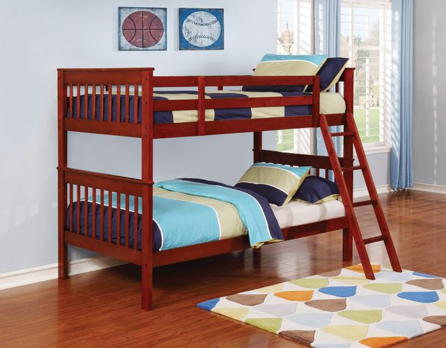 Coaster® Parker Youth Warm Chestnut Twin-Over-Twin Bunk Bed-460231