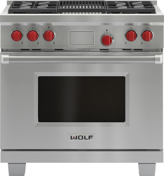 """Wolf® 36"""" Pro Style Dual Fuel Range-Stainless Steel-DF364C"""