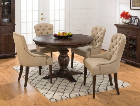 Jofran Inc. Geneva Hills Table and Upholstered Chair Set-678-60B-60T-4x212KD