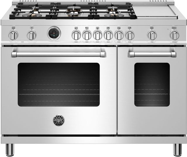 "Bertazzoni Master Series 48"" Stainless Steel Free Standing Dual Fuel Range-MAST486GDFSXT"
