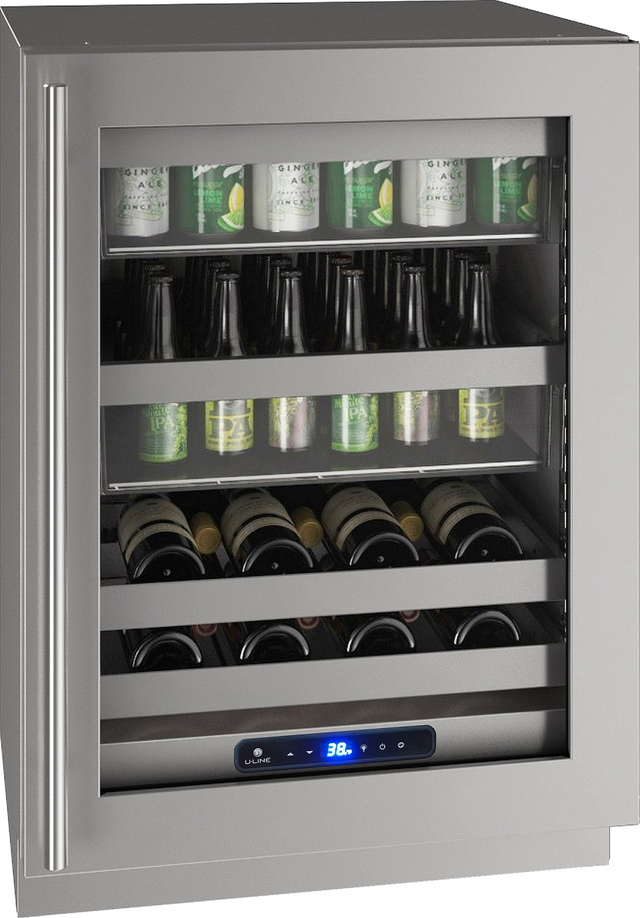"U-Line® 24"" Stainless Steel Beverage Center-UHBV524-SG01A"