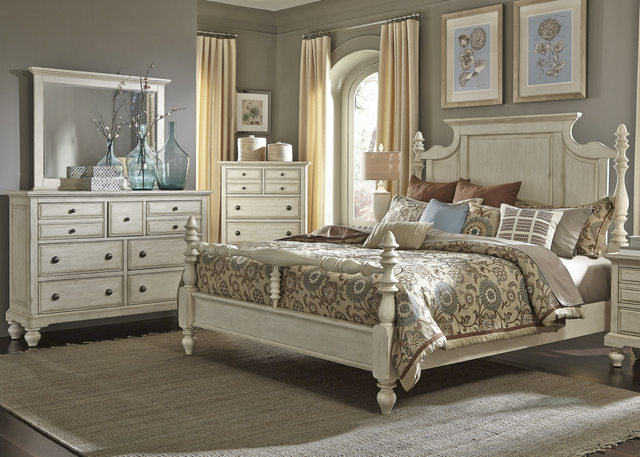 Liberty Furniture High Country 5 Piece Antique White Bedroom Set-697-BR-QPSDMCN