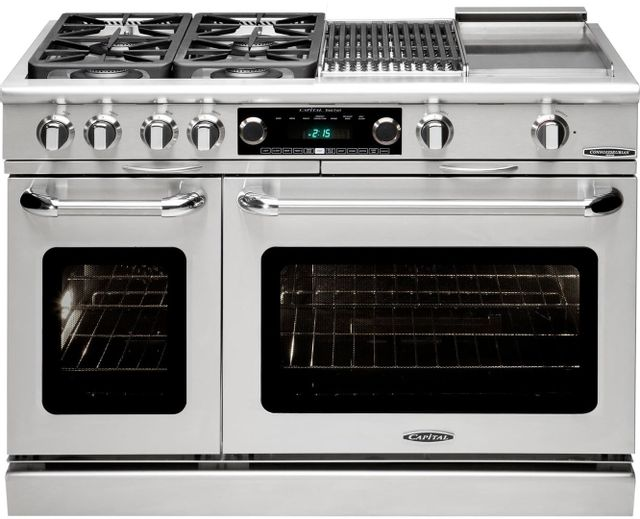 """Capital Connoisseurian 48"""" Stainless Steel Free Standing Dual Fuel Range-CSB484BGN"""