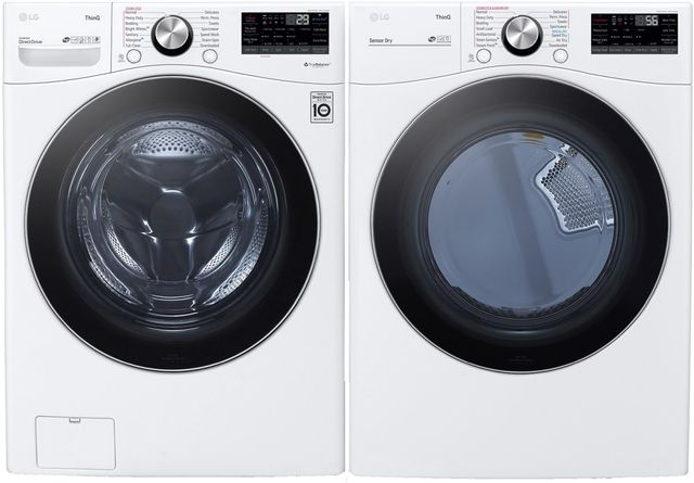 LG White Front Load Laundry Pair-LGLAUDLEX4200W