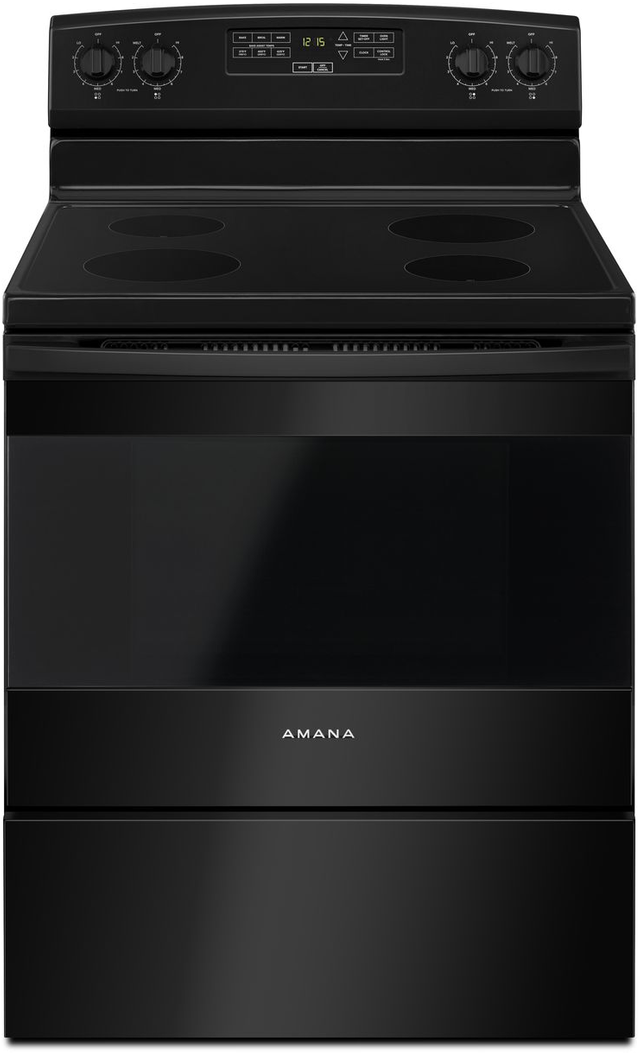 "Amana® 30"" Black Free Standing Electric Range-AER6303MFB"
