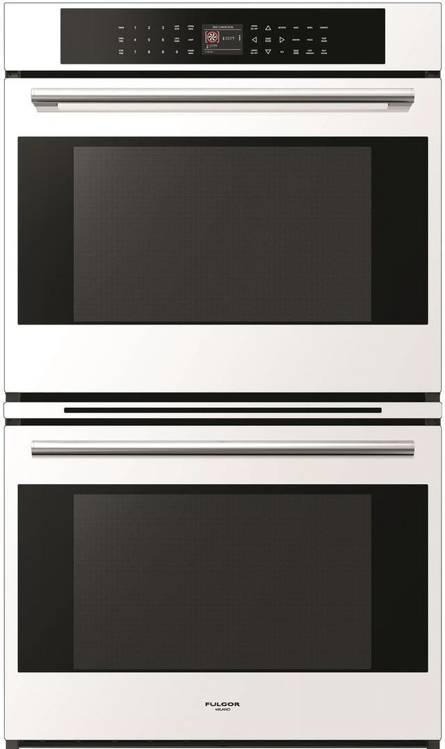 """Fulgor® Milano 700 Series 30"""" White Glass Double Electric Wall Oven-F7DP30W1"""