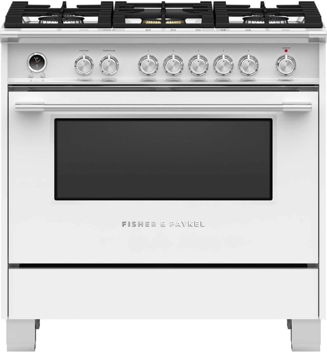 """Fisher & Paykel 36"""" Free Standing Dual Fuel Range-White-OR36SCG6W1"""