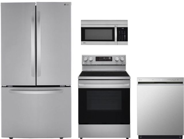 LG 4 Piece Stainless Steel Kitchen Package-LGKITLRFCS25D3S