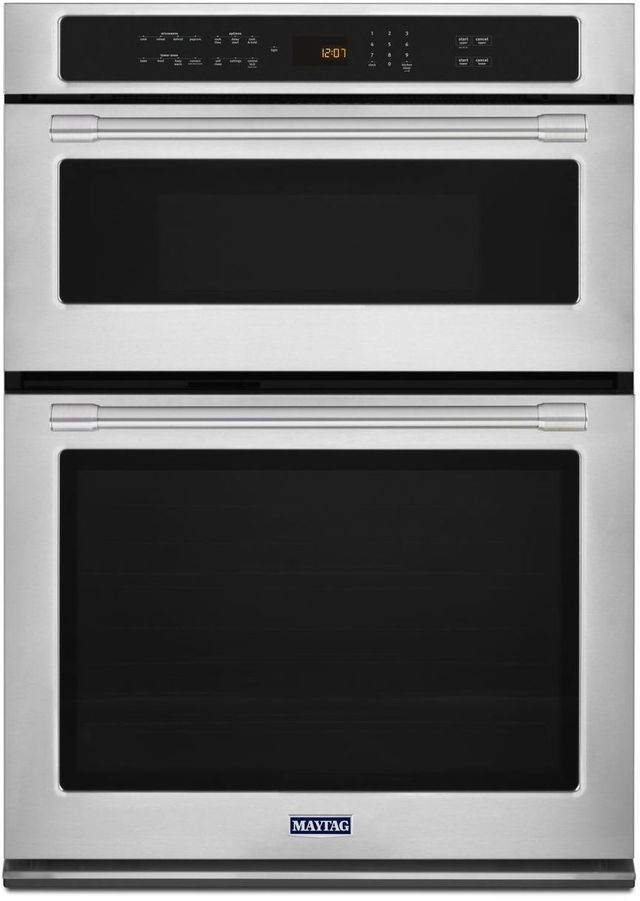 """Maytag® 30"""" Fingerprint Resistant Stainless Steel Electric Oven/Micro Combo Built In-MMW9730FZ"""