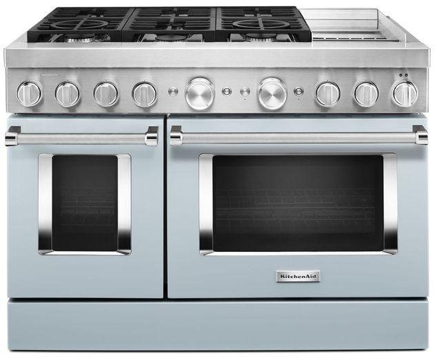Cuisinière bicombustible intelligente style commercial de 48 po KitchenAid® de 6,3 pi³, avec plaque chauffante - Bleu brumeux-KFDC558JMB