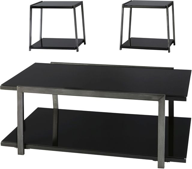 Signature Design by Ashley® Rollynx 3 Piece Black Occasional Table Set-T326-13