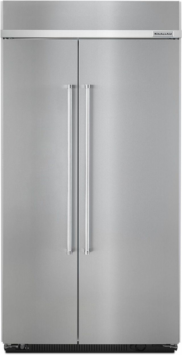 KitchenAid® 25.48 Cu. Ft. Stainless Steel with PrintShield™ Finish Built In Side-By-Side Refrigerator-KBSN602ESS
