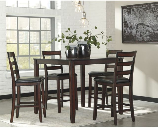 Signature Design by Ashley® Coviar Brown 5 Piece DRM Counter Table Set-D385-223