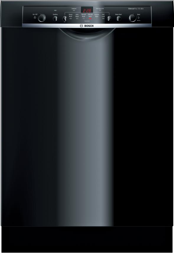 "Bosch Ascenta® Series 24"" Built In Dishwasher-Black-SHE3AR76UC"