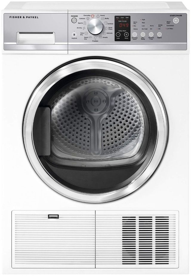 Fisher Paykel Front Load Electric Condensing Dryer-White-DE4024P1