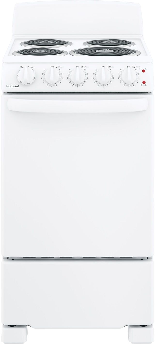 """Hotpoint® 20"""" White Free Standing Electric Range-RAS200DMWW-13-831R"""