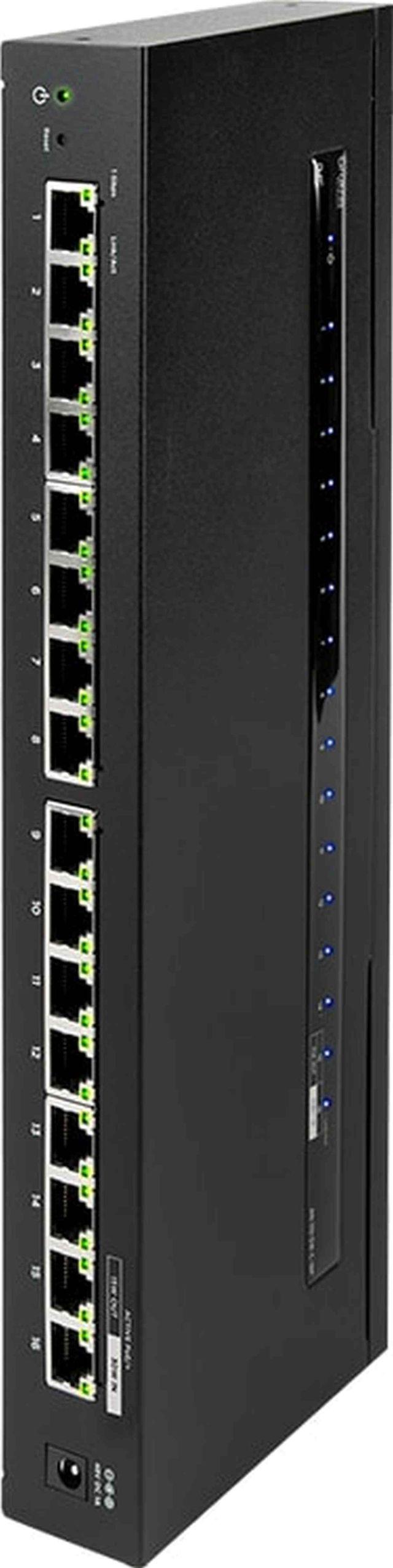 SnapAV Araknis Networks® 110 Series Black 16 Side Port Unmanaged+ Gigabit Compact Switch-AN-110-SW-C-16P