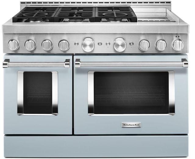 "KitchenAid® 48"" Misty Blue Smart Commercial-Style Gas Range with Griddle-KFGC558JMB"