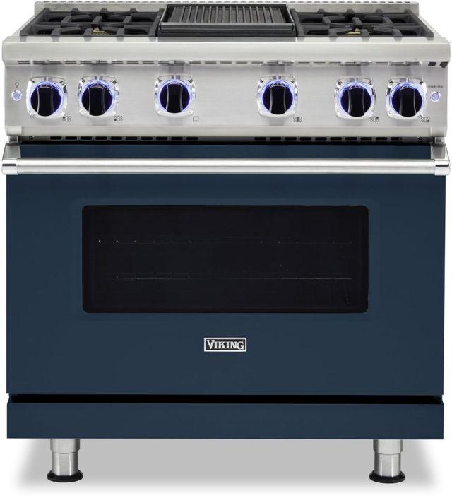 "Viking® 7 Series 36"" Slate Blue Pro Style Liquid Propane Gas Range with 12"" Reversible Griddle-VGR73624GSBLP"