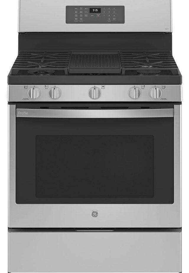 Cuisinière au gaz autoportante GE Profile® de 5,6 pi³ de 30 po - Acier inoxydable résistant aux traces de doigts-PCGB935YPFS