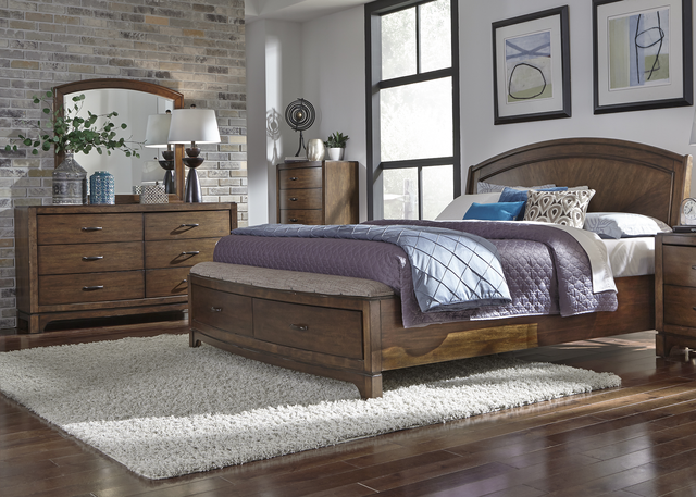 Liberty Furniture Avalon lll 3 Piece Pebble Brown Queen Panel Storage Bedroom Set-705-BR-QPBSDM