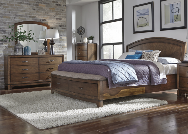 Liberty Furniture Avalon lll 4 Piece Pebble Brown Queen Panel Storage Bedroom Set-705-BR-QPBSDMC