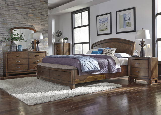 Liberty Furniture Avalon lll 5 Piece Pebble Brown Queen Panel Storage Bedroom Set-705-BR-QPBSDMCN