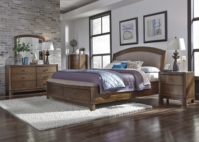 Liberty Furniture Avalon lll 5 Piece Pebble Brown Queen Storage Bedroom Set-705-BR-QSBDMCN