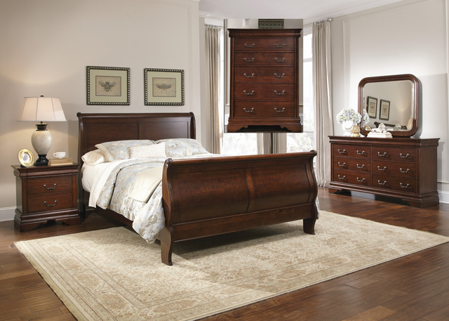 Liberty Carriage Court Bedroom King Sleigh Bed, Dresser, Mirror, Chest and Night Stand Collection-709-BR-KSLDMCN