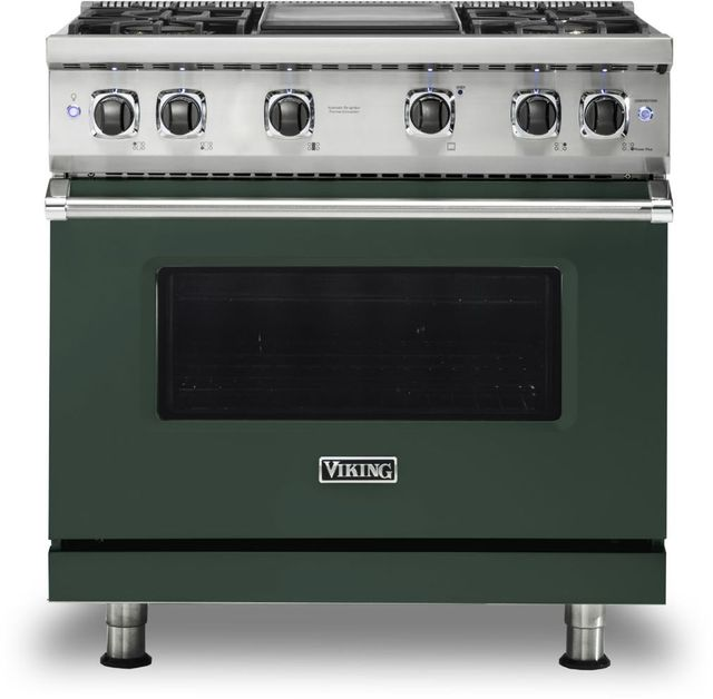 """Viking® 5 Series 36"""" Blackforest Green Pro Style Natural Gas Range with 12"""" Griddle-VGR5364GBF"""