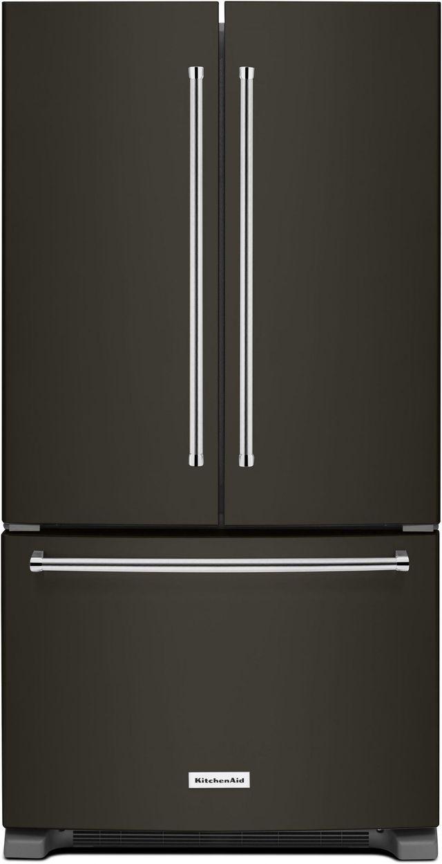 KitchenAid® 25.19 Cu. Ft. Black Stainless Steel with PrintShield™ Finish French Door Refrigerator-KRFF305EBS