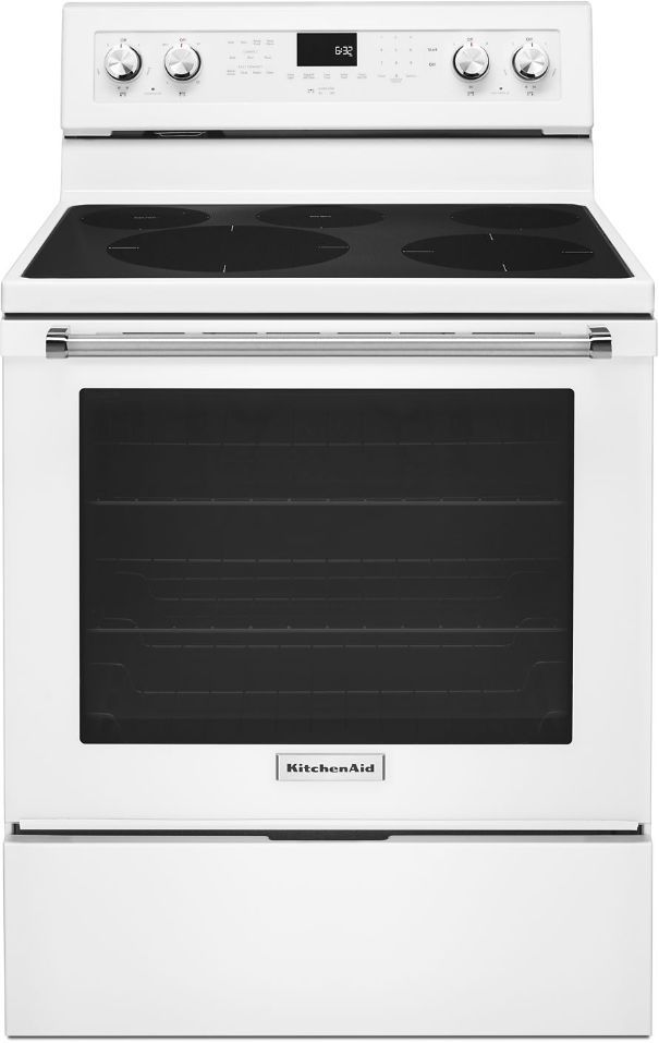 "KitchenAid® 30"" White Free Standing Electric Convection Range-KFEG500EWH"