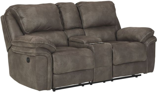 Benchcraft® Trementon Graphite Double Reclining Loveseat with Console-8090294