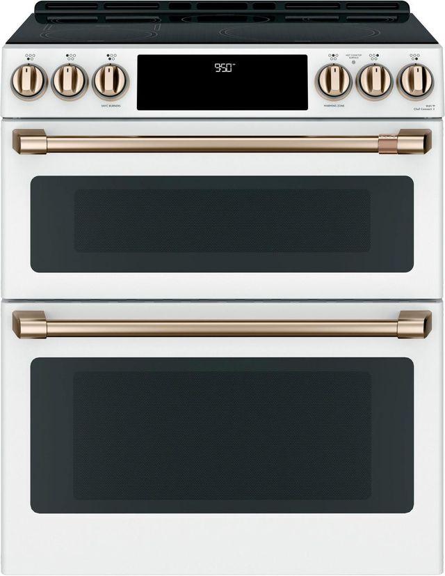 "Café™ 30"" Matte White Slide In Double Oven Electric Range-CHS950P4MW2"