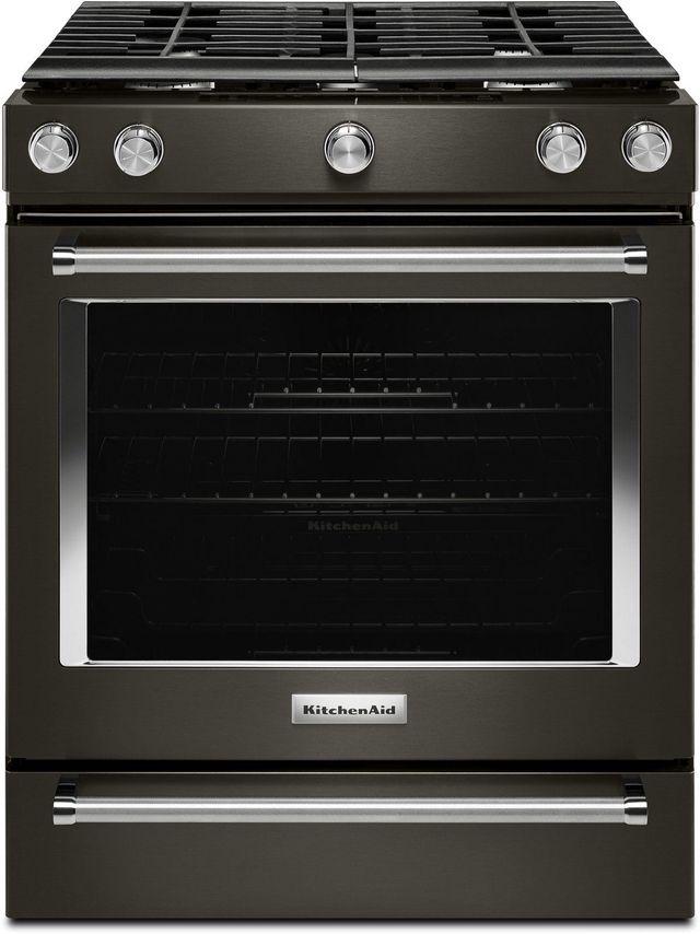 "KitchenAid® 30"" Black Stainless Steel with PrintShield™ Finish Slide In Gas Range-KSGG700EBS"