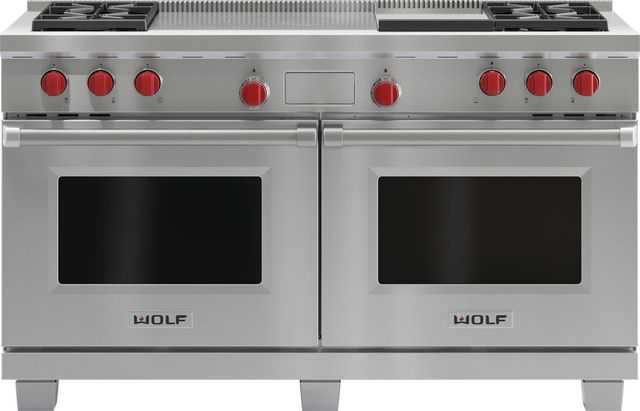 """Wolf® 60"""" Pro Style Dual Fuel Range-Stainless Steel-DF604GF"""