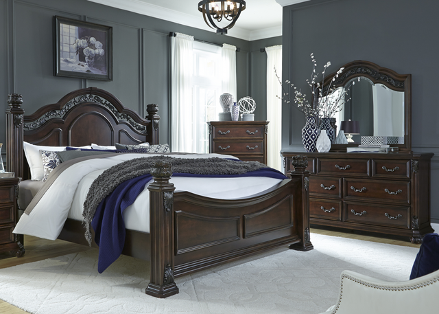 Liberty Messina Estates Bedroom King Poster Bed, Dresser, Mirror, and Chest Collection-737-BR-KPSDMC