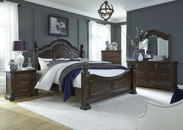 Liberty Messina Estates Bedroom King Poster Bed, Dresser, Mirror, Chest, and Night Stand Collection-737-BR-KPSDMCN
