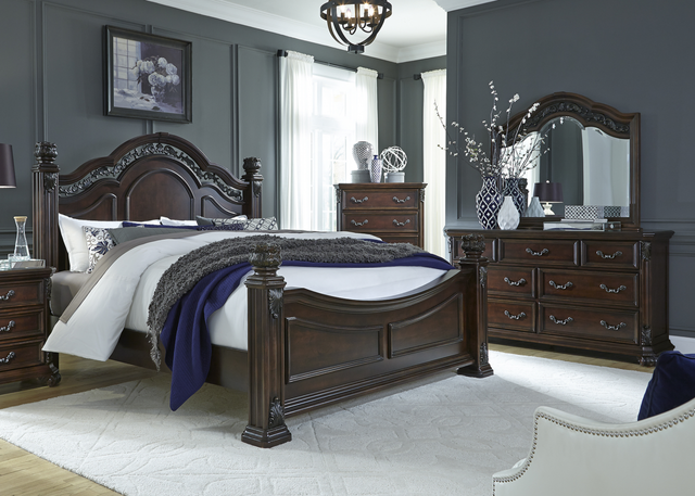 Liberty Messina Estates Bedroom Queen Poster Bed, Dresser, Mirror, and Chest Collection-737-BR-QPSDMC