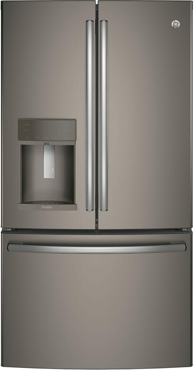 GE Profile™ 22.23 Cu. Ft. Slate Counter Depth French Door Refrigerator-PYE22KMKES