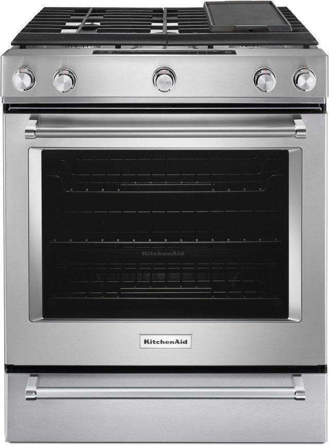 """KitchenAid® 30"""" Stainless Steel Slide In Gas Range-KSGB900ESS"""