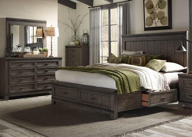 Liberty Thornwood Hills Bedroom King Two Sided Storage Bed, Dresser, and Mirror Collection-759-BR-K2SDM