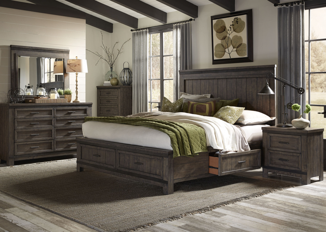 Liberty Thornwood Hills Bedroom King Two Sided Storage Bed, Dresser, Mirror, Chest, and Night Stand Collection-759-BR-K2SDMCN