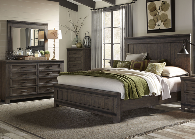 Liberty Thornwood Hills Bedroom King Panel Bed, Dresser, and Mirror Collection-759-BR-KPBDM