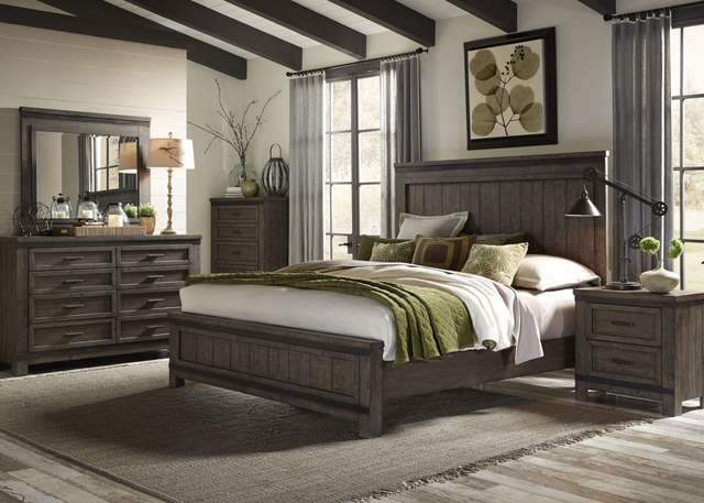 Liberty Thornwood Hills Bedroom King Panel Bed, Dresser, Mirror, and Night Stand Collection-759-BR-KPBDMN