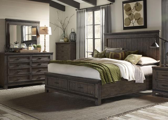 Liberty Thornwood Hills Bedroom King Storage Bed, Dresser, and Mirror Collection-759-BR-KSBDM